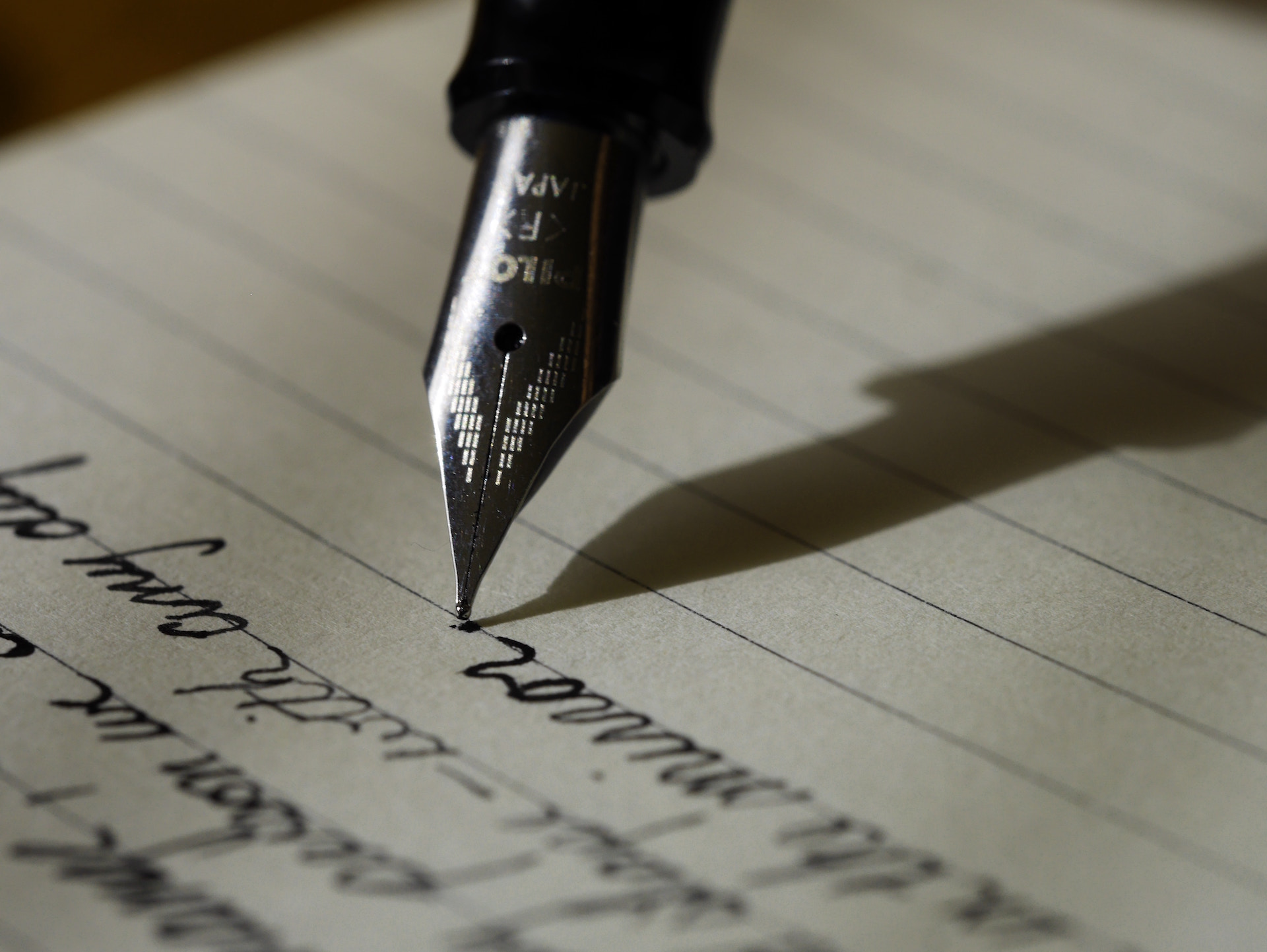 Writing notes or condolence or support